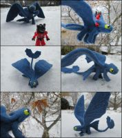 Posable Needle Felted Night Fury by SnowFox102