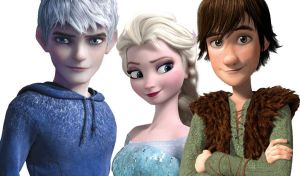 Jack, Elsa and Hiccup by angeltorchic