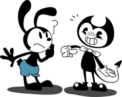 Oswald and Bendy by ILOVEGIR64