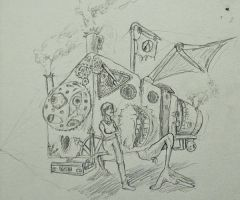 Steampunk Bus Doodle by Infernomonster