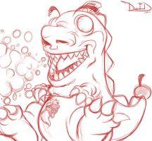Daenom and Cherryzilla (Sketch) 6-24-13 by DamnEvilDog