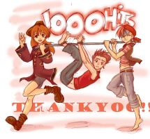 1000 hits kiriban by Looby-the-Pirate