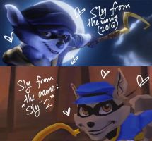 Movie Sly VS Video Game Sly by Mikage-YoshinoAnerin