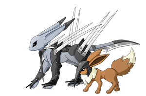 Eevee and Metaleon. by Faahlcahn