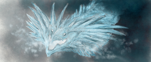 Ice dragon (sketch) by WhiteRose2132