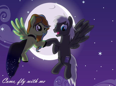 Comission: Flying fancy horses by Spectty