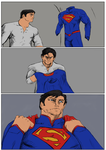Clark suiting up as Superman by Michael-McDonnell