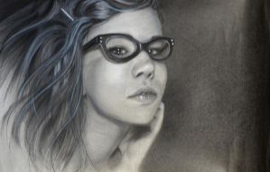 Girl With Glasses by xabigal-eyesx
