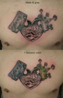 Heart Crown Dice Casette TaT by 2Face-Tattoo