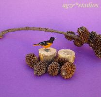 1:12 scale Baltimore Oriole Bird Handmade Ooak by AGZR-STUDIOS