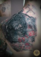 Jester cover up letter trash polka style done by 2Face-Tattoo