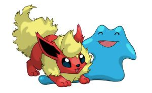 Ditto and Flareon by CondemnedKid