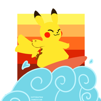Surfing Pikachu by Zayger
