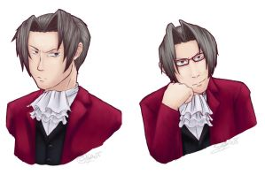 PW: Miles Edgeworth doodles by Pink-Shimmer
