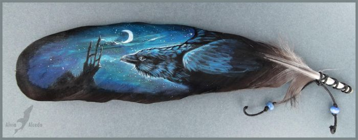 Ravens night - feather painting by AlviaAlcedo