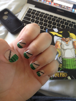 Zoro (One Piece) Nail Art by sydneytrrs