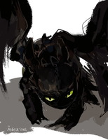 Crouching Toothless by Dreamsoffools