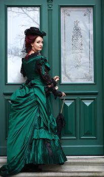 Stock - Victorian Lady green gown back full view by S-T-A-R-gazer
