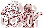 Two skeletons walk into an Olive Garden by Mister-Saturn