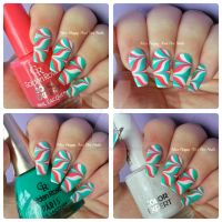Candy cane watermarble by MissHappyAndHerNails