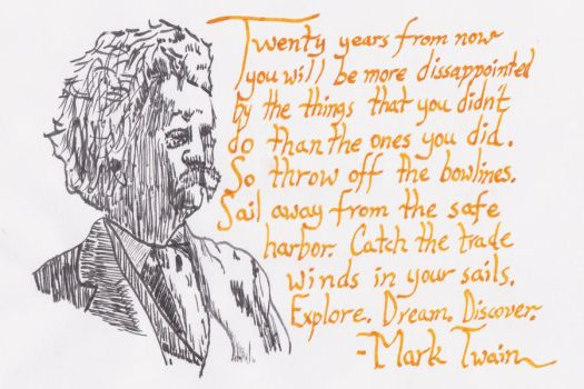 Mark Twain Face and Quote by bizmiard