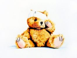 Poorly Bear, Watercolour by thelastcelt