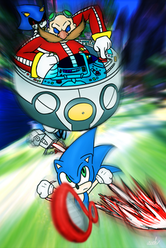 Eggman and Metal chasing Sonic by CandleJumper