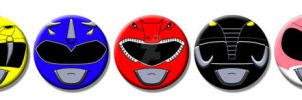 MMPR Power Ranger Buttons and Magnets by Mutant-Cactus