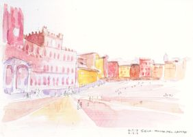 Italy Trip Watercolor 4 - Piazza Del Campo by Aileen-Kailum