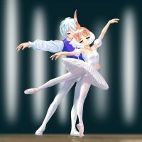 Pas de deux by  Mytho and Tutu by usuiou