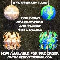 IKEA 'Death Star' Lamp - Space Station and Planet by barefootsewing