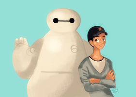 Baymax and Tadashi by ChiuuChiuu