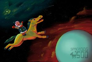 yellow horse in space by SpaceDog500