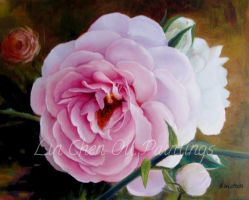 The Exquisite Pink Rose - Oil Painting by LinChen22