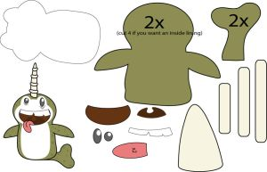 Narwhal Puppet pattern by Mokulen22