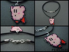 Handmade Seed Bead Flying Kirby Necklace by Pixelosis