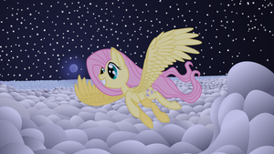 Fluttershy's nighttime flight by sakatagintoki117