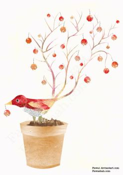 Whimsical Red Bird Plant by Fawa1