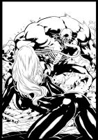 Venom vs Black Cat By Diego ink by me by jbellcomic