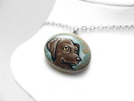 Brown Labrador Dog Pendant Necklace by sobeyondthis