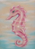 Pink Seahorse ACEO by Zindy