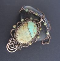 bronze turquoise wire wrapped by annie-jewelry