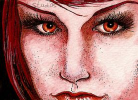 Red Devil Girl Aceo by TempestErika