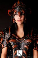 female leather armor closeup by Lagueuse