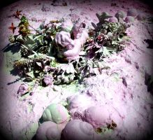 pink angel sleeping and snails and flowers by santosam81