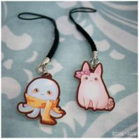 Octopus + Bunny charms by OctopusandBunny