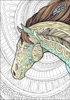 Horse colouring page by hontor