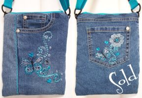 Teal Butterfly Bag by SmilingMoonCreations