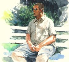 Man Seated On Bench by grobles63