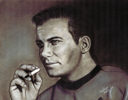Captain Kirk having a fag by ADRIANSportraits